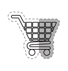 shopping cart commerce online cut line vector image