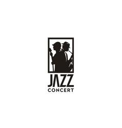 silhouette music jazz singer saxophone player logo vector image