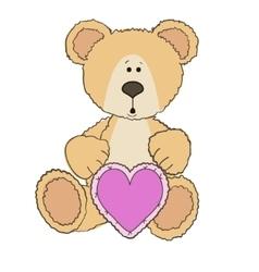 Teddy Bear is sitting with heart vector