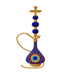 Traditional turkish ceramic blue hookah isolated vector
