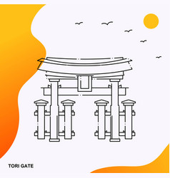 Travel tori gate poster template vector