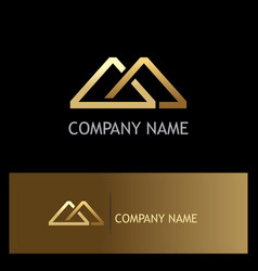 Triangle connect shape gold company logo vector