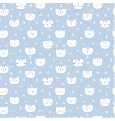 Tribal seamless pattern with little cats abstract vector