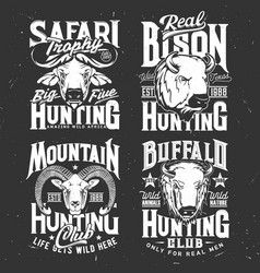 tshirt print with mountain goat buffalo and bison vector image