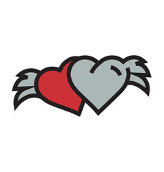two hearts with wings red vector image