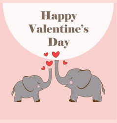 valentines with elephants vector image