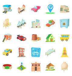 Vast city icons set cartoon style vector