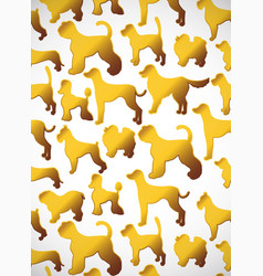 Vertical card pattern with cute cartoon gold dog vector