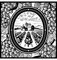 Vineyard black and white vector image
