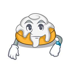 Waiting cinnamon roll mascot cartoon vector