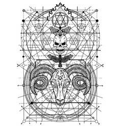 With symbols death and devil signs vector