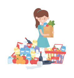 Woman shopping with bag basket and products vector