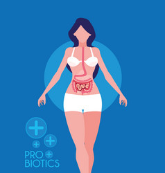 Woman with probiotics medicines vector