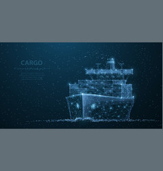 Worldwide cargo ship polygonal wireframe mesh art vector