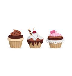 Yummy cupcakes sweet food vector