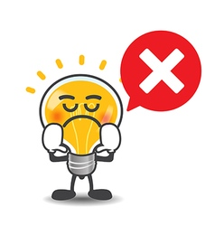 Bulb lamp cartoon isolated say no with red speech vector image vector image