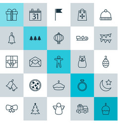 christmas icons set collection of traditional vector image