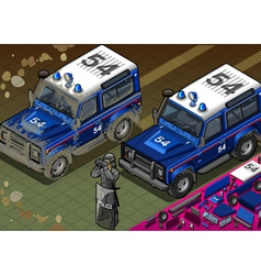 Isometric Police Off Road Vehicle in Front View vector image