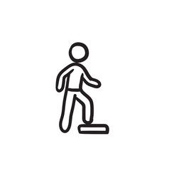 man doing step exercise sketch icon vector image vector image