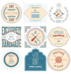 Set of vintage knitting labels badges and design vector image vector image