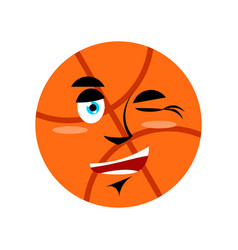 basketball winking emoji ball happy emotion vector image
