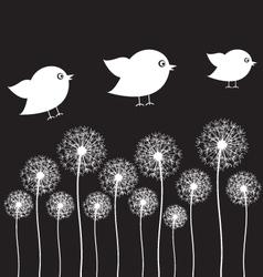 Dandelion and bird vector image vector image