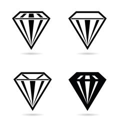 diamond crystal set black vector image vector image