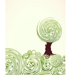 Hand drawn ornate swirl grass and tree vector