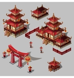 Houses in Japanese style image big set vector image