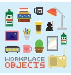 Pixel art isolated office tools set vector image vector image