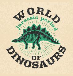 Vintage poster of fossil bones of dinosaur big vector