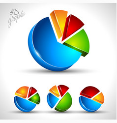 3d pie diagram for infographic or percentage data vector image vector image