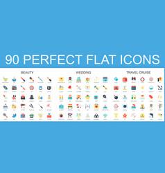 90 modern flat icon set of beauty wedding travel vector image vector image