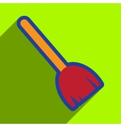 Flat with shadow icon broom on bright background vector