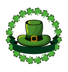 Green hat accessory st patrick with clovers and vector