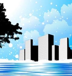 winter city vector image