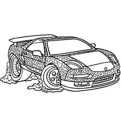 black and white of car on white vector image vector image