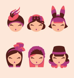 fashion girls in head accessories icon set vector image