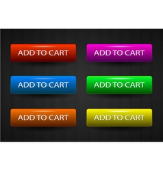 glossy add to cart buttons set vector image vector image