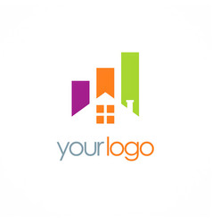 house business colored logo vector image vector image