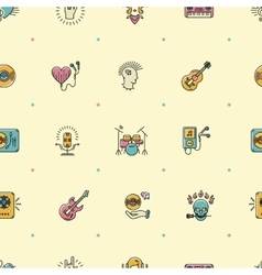 Music seamless pattern Rock punk jazz background vector image vector image