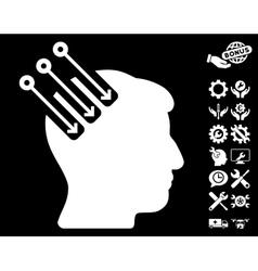 Neuro Interface Icon with Tools Bonus vector image vector image