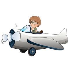 Pilot flying aeroplane on white background vector image
