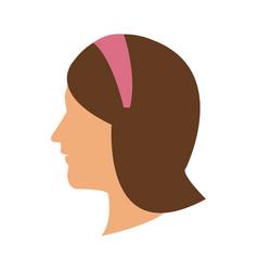 Profile head woman with diadem hair vector