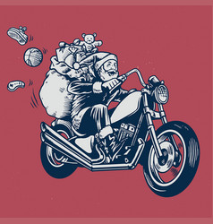 Santa claus ride a motorcycle with bunch of vector