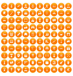 100 hero icons set orange vector
