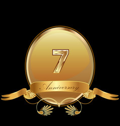 7th golden anniversary birthday seal icon vector image