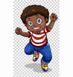 African american boy on transparent background vector