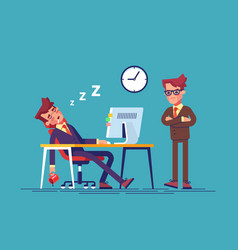 Angry boss and worker falling asleep in office vector