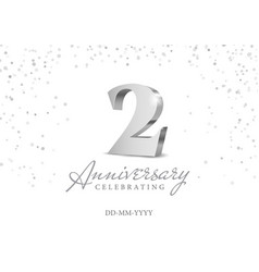 anniversary 2 silver 3d numbers vector image